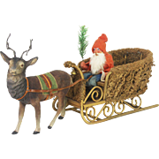 Antique German Santa in Loofah Sleigh with Candy Container Reindeer ca1910