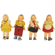 Antique German Carl Horn Hertwig Painted Bisque Miniature Dolls set of 4