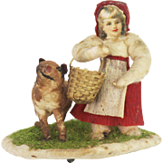 Antique German Little Red Riding Hood Cotton Batting Platform Ornament ca1910