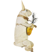 Antique German Cotton Batting Bunny Rabbit Ornament ca1910