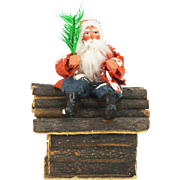 Antique German Santa on Log Cabin Candy Container ca1910