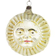 Antique German Blown Glass Double Sided Sun Christmas Ornament ca1910