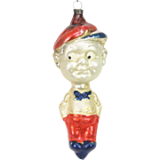 German Blown Glass Skeezix Character Christmas Ornament ca1920