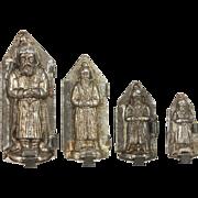 Antique German Tin St. Nicholas Santa Chocolate Molds ca1900