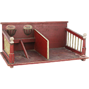 Antique German Miniature Toy Horse Stable ca1900