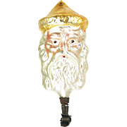 Antique German Blown Glass Santa Head Clip Christmas Ornament ca1910