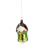 Antique German Blown Glass Gnome in Mushroom House Christmas Ornament ca1920