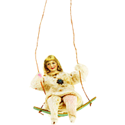 Antique German Girl on Swing Cotton Batting Christmas Ornament ca1910