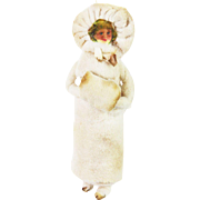 Antique German Cotton Batting Girl in Winter Coat Christmas Ornament ca1910
