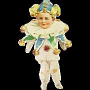 Antique German Cotton Batting Jester Clown Christmas Ornament ca1910