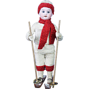 Antique German Cotton Batting and Bisque Doll Head Skier Candy Container ca1910