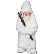 Antique German Cotton Batting and Paper Mache Santa Ornament ca1900