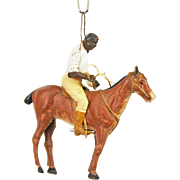 Antique Rare German Dresden Black African Jockey on Horse Christmas Ornament ca1910