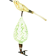 Vintage German Blown Glass Clip Christmas Tree and Bird Ornament ca1920