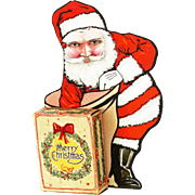 Vintage Stand Up Santa with Candy Container Gift Box ca1920