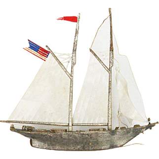 Antique Dresden Large Sailboat Christmas Ornament ca1910