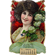 Antique Die Cut Advertising Calendar Woman with Flowers ca1911