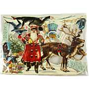 Antique German Unusual Die Cut Santa Christmas Scene