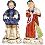 Antique German Heubach Rare Pair of Winter Children Figurines ca1910