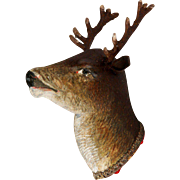 Antique German Dresden Buck Head / Deer Christmas Ornament Candy Container