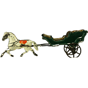 Antique American Painted Tin Horse and Carriage ca1880