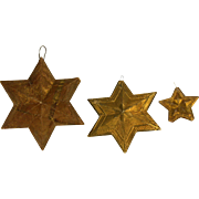 Antique German Dresden Gold Star Christmas Ornaments 3pc ca1910