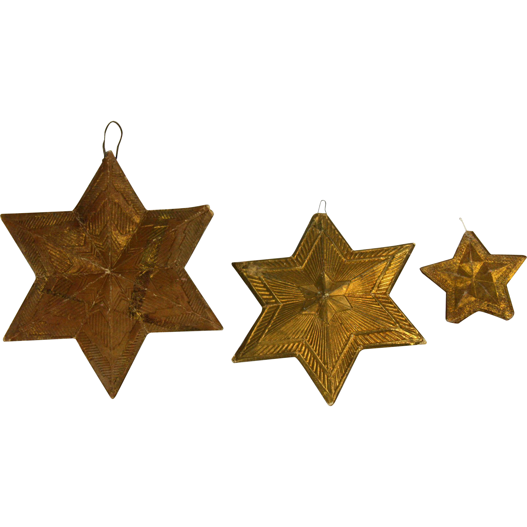 Gold star ornaments - Antique German Dresden Gold Star Christmas Ornaments 3pc Ca1910