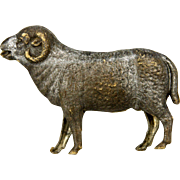 Antique German Dresden silver Ram Christmas Ornament ca1910