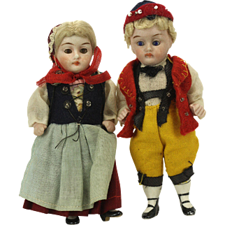 Antique German All Bisque Jointed Miniature Pair of Dolls ca1910