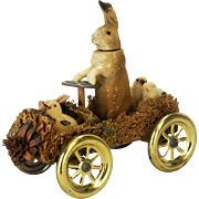Antique German Easter Rabbit Candy Container Driver in Loofah Car ca1910