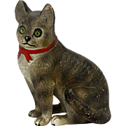 Antique Victorian European Terracotta Cat Figurine with Glass Eyes