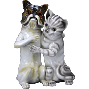 Antique Large Porcelain Dog and Cat Bank
