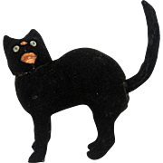 Antique German Halloween Black Cat Candy Container ca1910