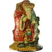 Antique Rare German Tin Litho Santa Candle Clip ca1890