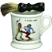 Antique German KPM Shaving Mug with Black Figures ca1880