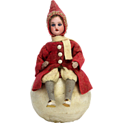 Antique German Bisque Head Christmas Girl on Snowball Candy Container ca1910