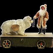 Antique German Santa with Polar Bear Mechanical Noisemaker Pull Toy ca1910