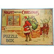 Antique Milton Bradley Night Before Christmas Puzzle Box