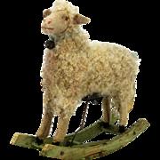 Antique German Mechanical Rocker Easter Lamb ca1900