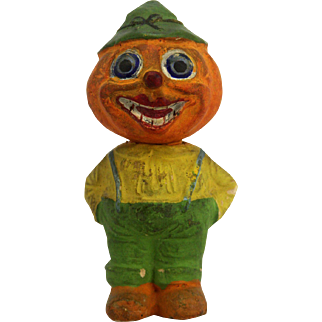 Antique German Halloween Pumpkin Man Candy Container ca1910
