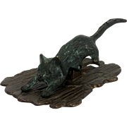 Antique Cast Bronze Cat Paper Clip ca1910