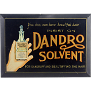 Vintage Dandro Solvent Tin Over Cardboard Advertising Sign ca1947