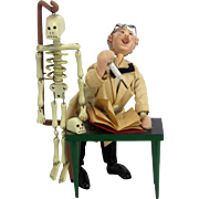 Vintage Spain Klumpe Roldan Doll Professor with Skeleton