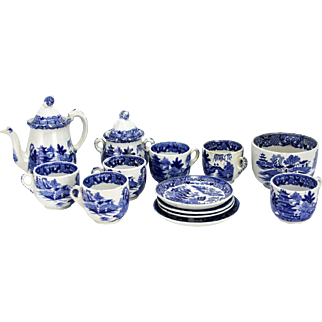Victorian Blue Willow Childs Doll Tea Set ca1880