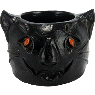Vintage Halloween Black Cat Nut Cup / Candy Container