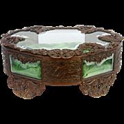 Antique Art Nouveau Koi Fish Jewelry Casket Box Cast Bronze and Glass ca1890