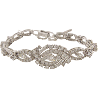 Spectacular Vintage Marquise Baguette and Round Diamond 14K White Gold Bracelet Approximately 3cttw