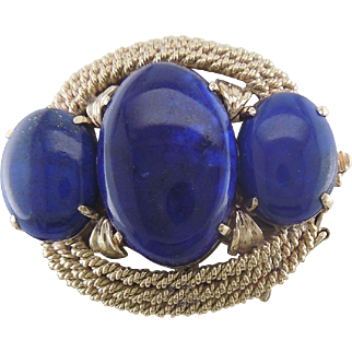 14K Yellow Gold Triple Rope Design Lapis Lazuli Cabochon Pin or Pearl Clasp