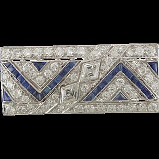 Stunning Art Deco Platinum 2.26ctw Diamond and 1.10ctw Sapphire Pin Brooch