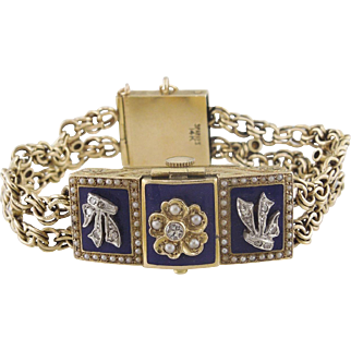 14K Yellow Gold Diamond and Seed Pearl Blue Lacquer Hidden Watch Bracelet